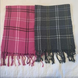 Two Scarves (pink plaid and gray)